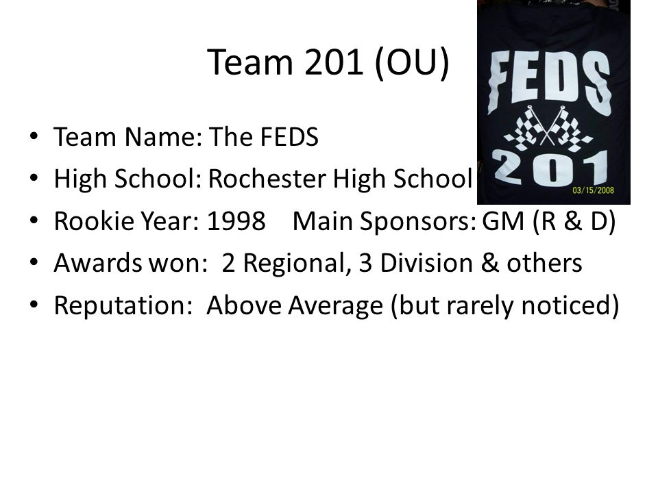 Team 201 (OU) Team Name: The FEDS High School: Rochester High School Rookie Year: 1998Main Sponsors: GM (R & D) Awards won: 2 Regional, 3 Division & o