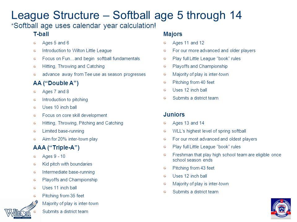 League Structure – Softball age 5 through 14 * Softball age uses calendar year calculation.