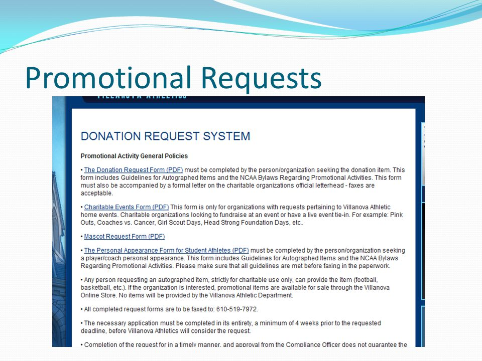 Promotional Requests