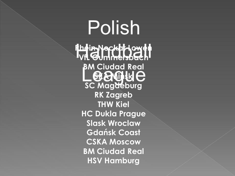 Polish Handball League Rhein Neckar Lowen VfL Gummersbach BM Ciudad Real SKA Minsk SC Magdeburg RK Zagreb THW Kiel HC Dukla Prague Slask Wroclaw Gdańsk Coast CSKA Moscow BM Ciudad Real HSV Hamburg