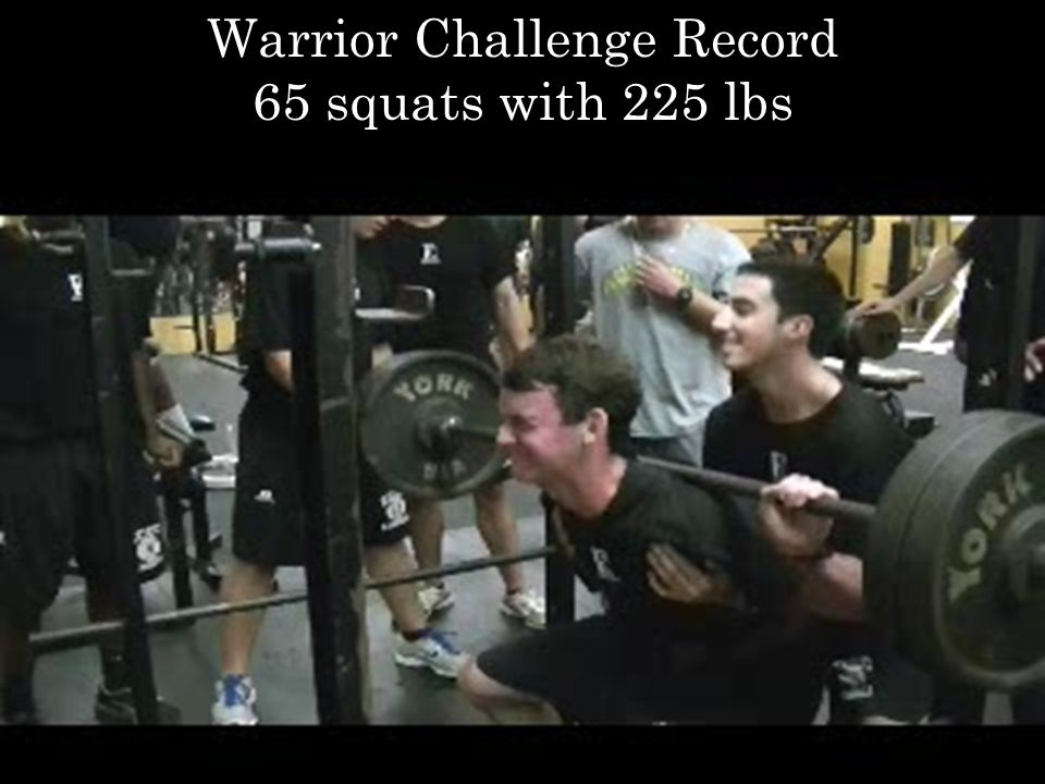 Warrior Challenge Record 65 squats with 225 lbs