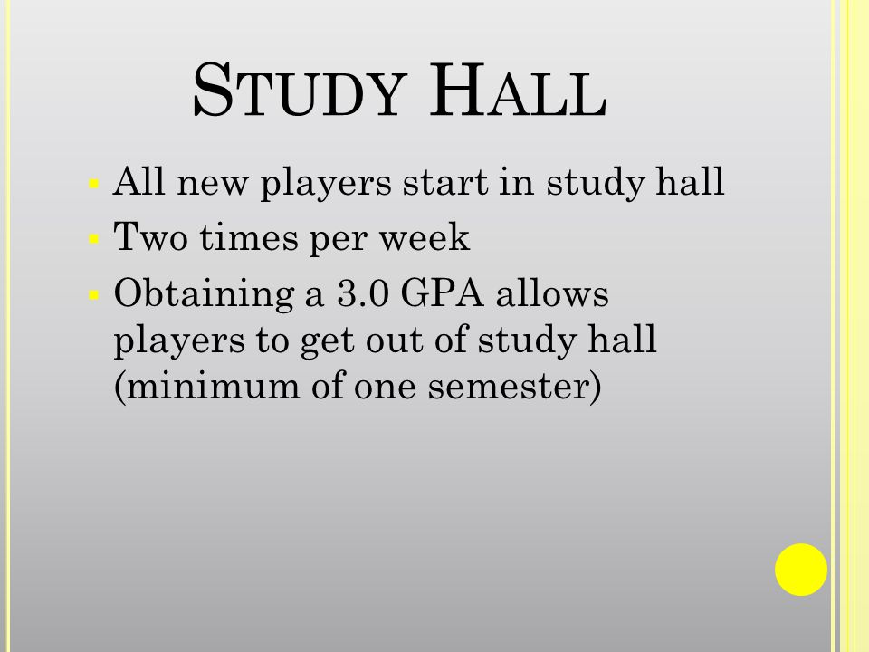 S TUDY H ALL All new players start in study hall Two times per week Obtaining a 3.0 GPA allows players to get out of study hall (minimum of one semester)