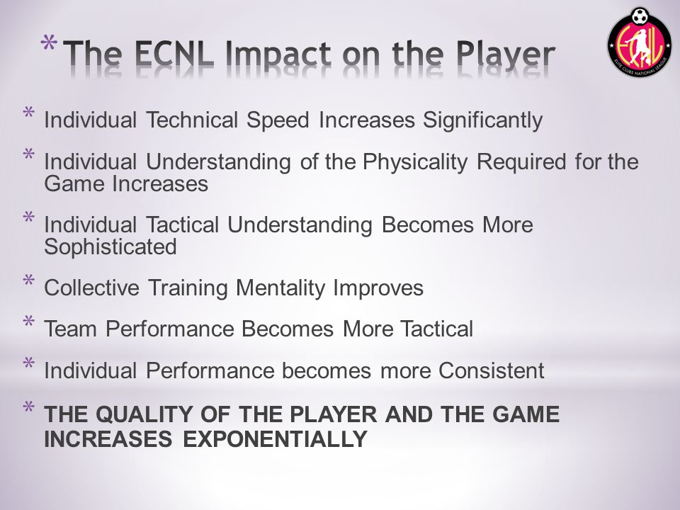 * Individual Technical Speed Increases Significantly * Individual Understanding of the Physicality Required for the Game Increases * Individual Tactical Understanding Becomes More Sophisticated * Collective Training Mentality Improves * Team Performance Becomes More Tactical * Individual Performance becomes more Consistent * THE QUALITY OF THE PLAYER AND THE GAME INCREASES EXPONENTIALLY