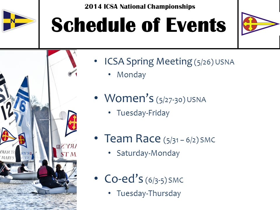 . Schedule of Events ICSA Spring Meeting (5/26) USNA Monday Womens (5/27-30) USNA Tuesday-Friday Team Race (5/31 – 6/2) SMC Saturday-Monday Co-eds (6/3-5) SMC Tuesday-Thursday 2014 ICSA National Championships