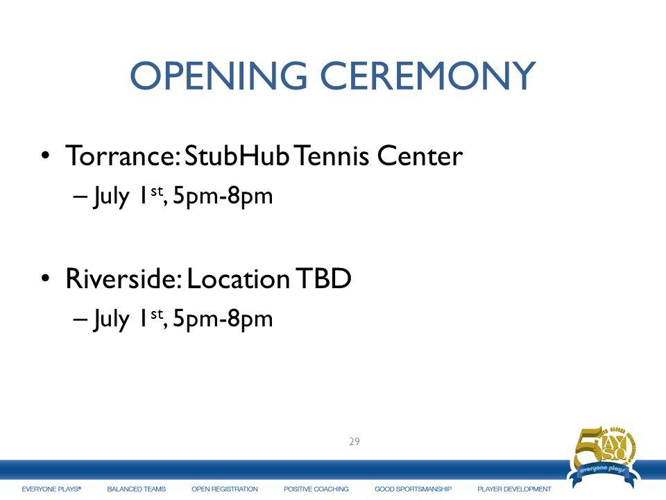 OPENING CEREMONY Torrance: StubHub Tennis Center – July 1 st, 5pm-8pm Riverside: Location TBD – July 1 st, 5pm-8pm 29