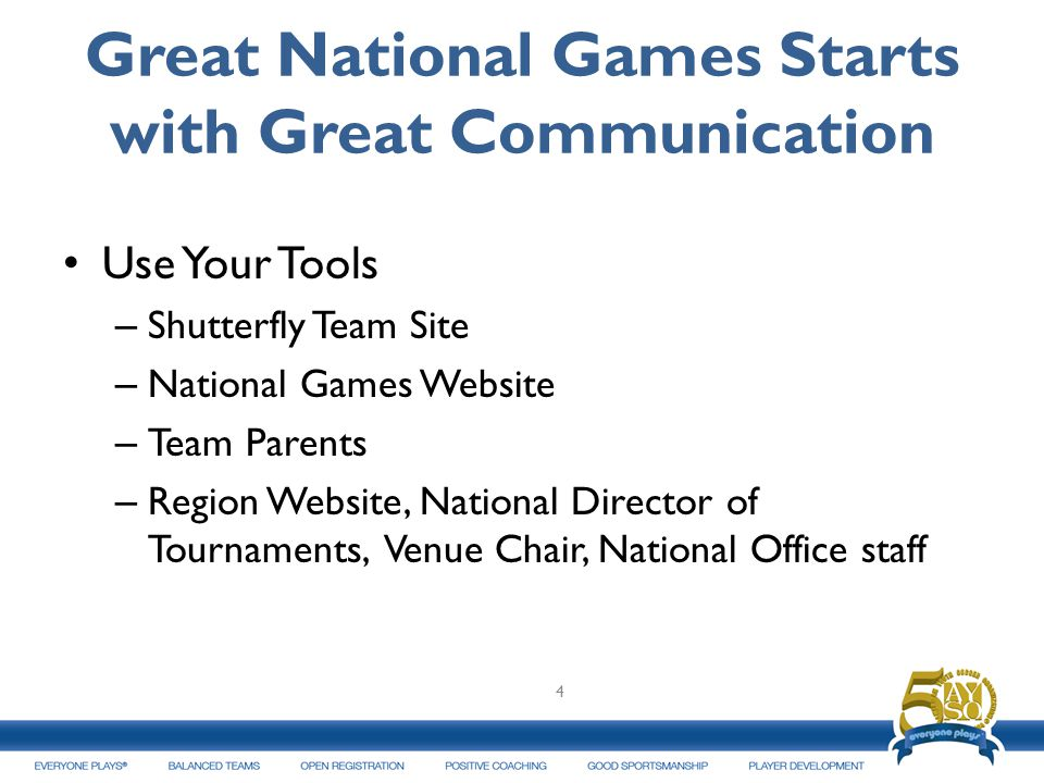 Great National Games Starts with Great Communication Use Your Tools – Shutterfly Team Site – National Games Website – Team Parents – Region Website, N