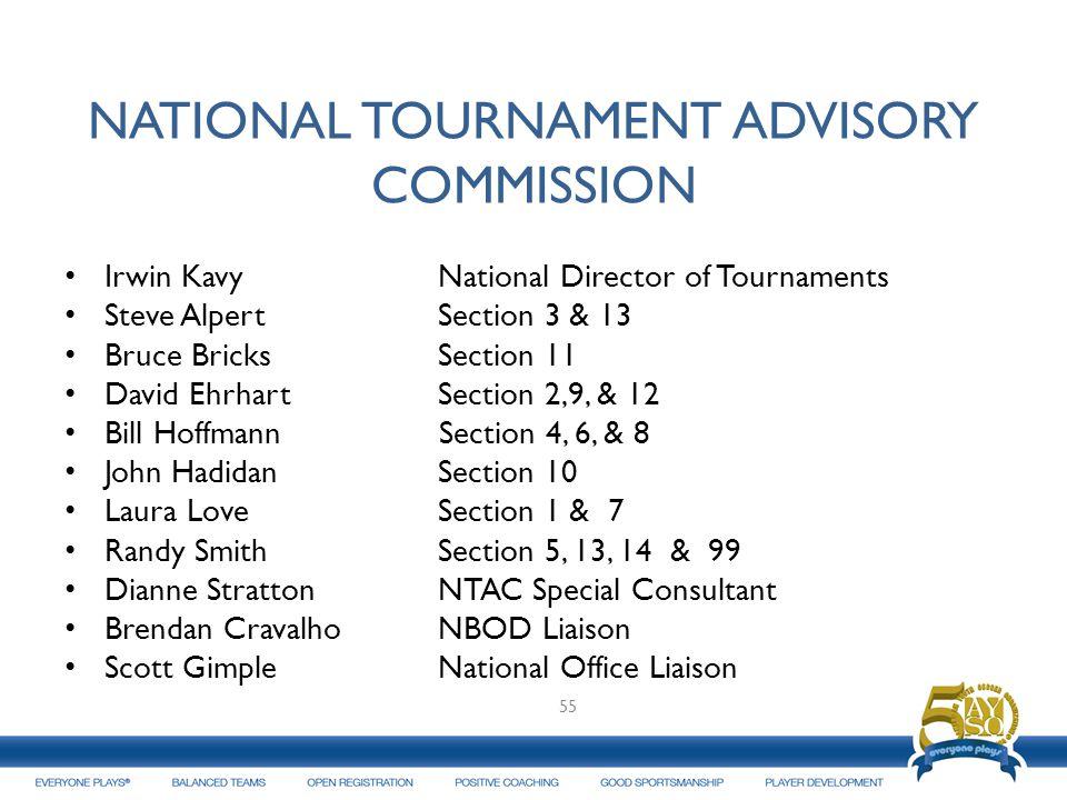NATIONAL TOURNAMENT ADVISORY COMMISSION Irwin Kavy National Director of Tournaments Steve Alpert Section 3 & 13 Bruce Bricks Section 11 David Ehrhart