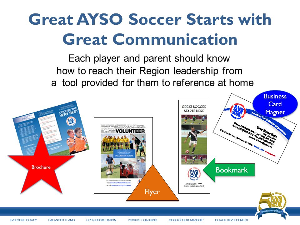 Great AYSO Soccer Starts with Great Communication Each player and parent should know how to reach their Region leadership from a tool provided for the