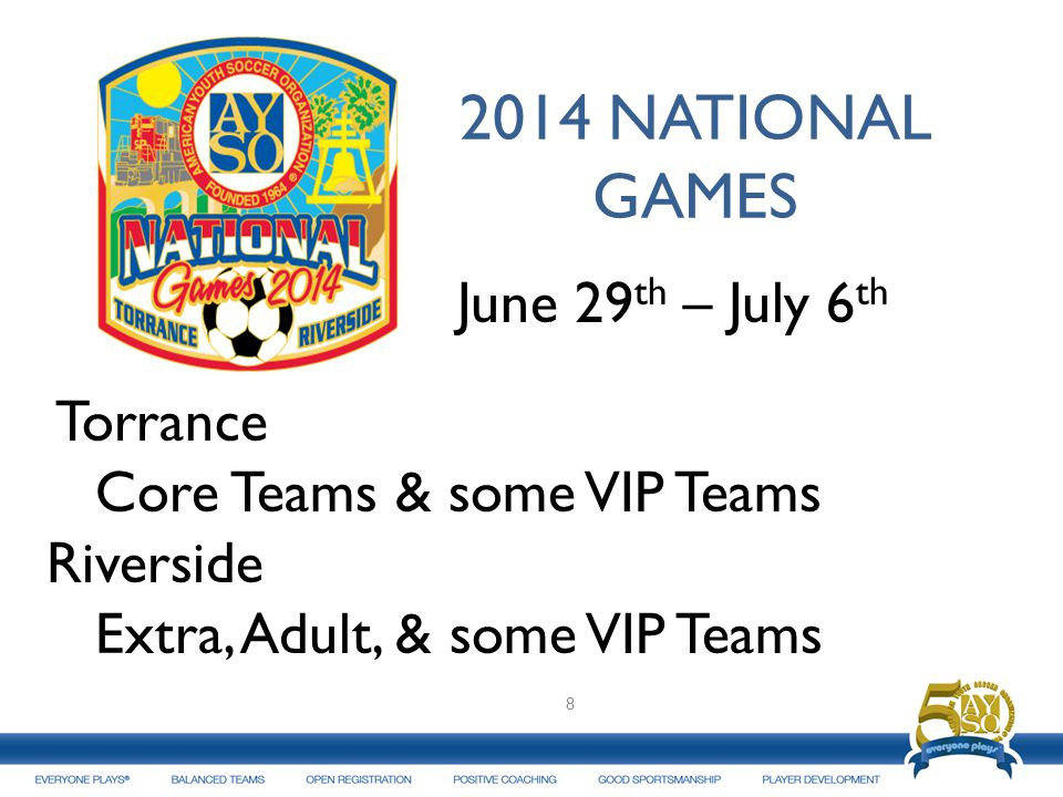 2014 NATIONAL GAMES June 29 th – July 6 th Torrance Core Teams & some VIP Teams Riverside Extra, Adult, & some VIP Teams 8