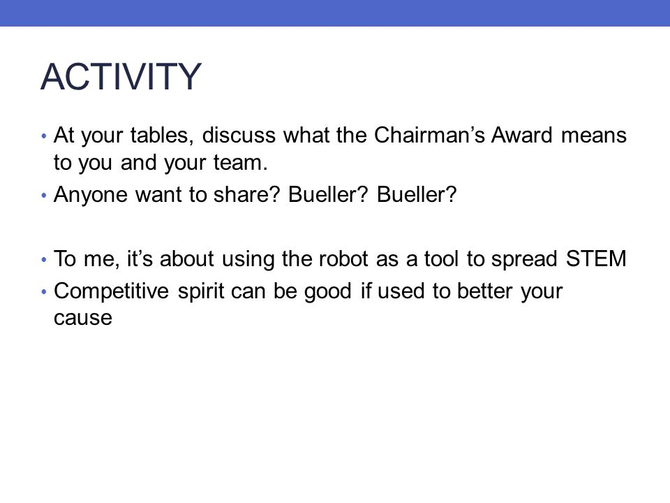 ACTIVITY At your tables, discuss what the Chairmans Award means to you and your team. Anyone want to share? Bueller? Bueller? To me, its about using t