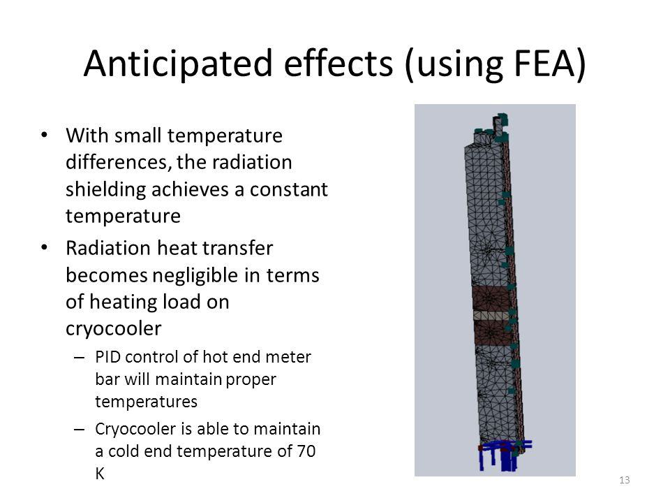 Anticipated effects (using FEA) With small temperature differences, the radiation shielding achieves a constant temperature Radiation heat transfer be