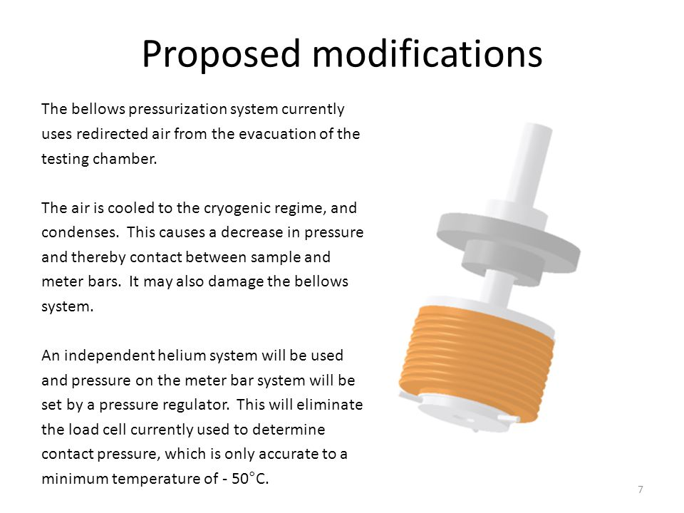 Proposed modifications The bellows pressurization system currently uses redirected air from the evacuation of the testing chamber. The air is cooled t