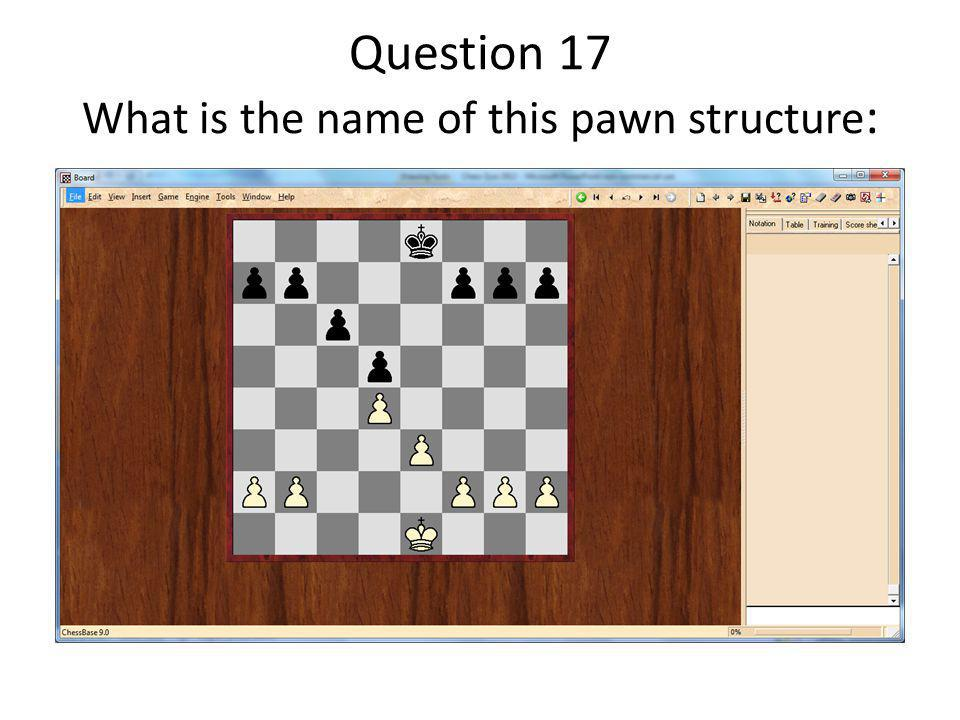 Question 17 What is the name of this pawn structure :