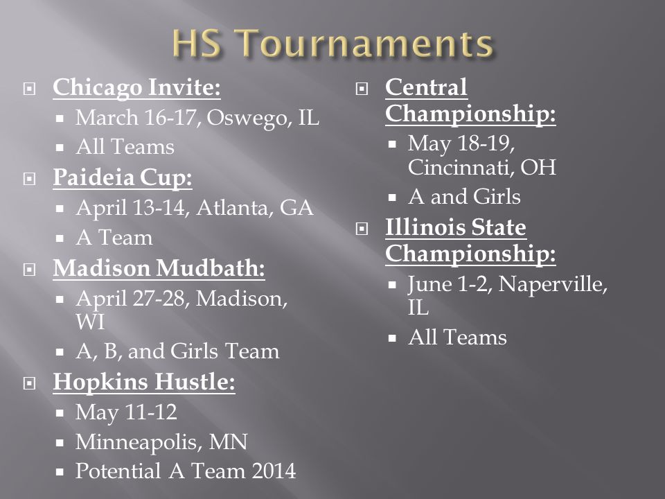 Chicago Invite: March 16-17, Oswego, IL All Teams Paideia Cup: April 13-14, Atlanta, GA A Team Madison Mudbath: April 27-28, Madison, WI A, B, and Girls Team Hopkins Hustle: May Minneapolis, MN Potential A Team 2014 Central Championship: May 18-19, Cincinnati, OH A and Girls Illinois State Championship: June 1-2, Naperville, IL All Teams