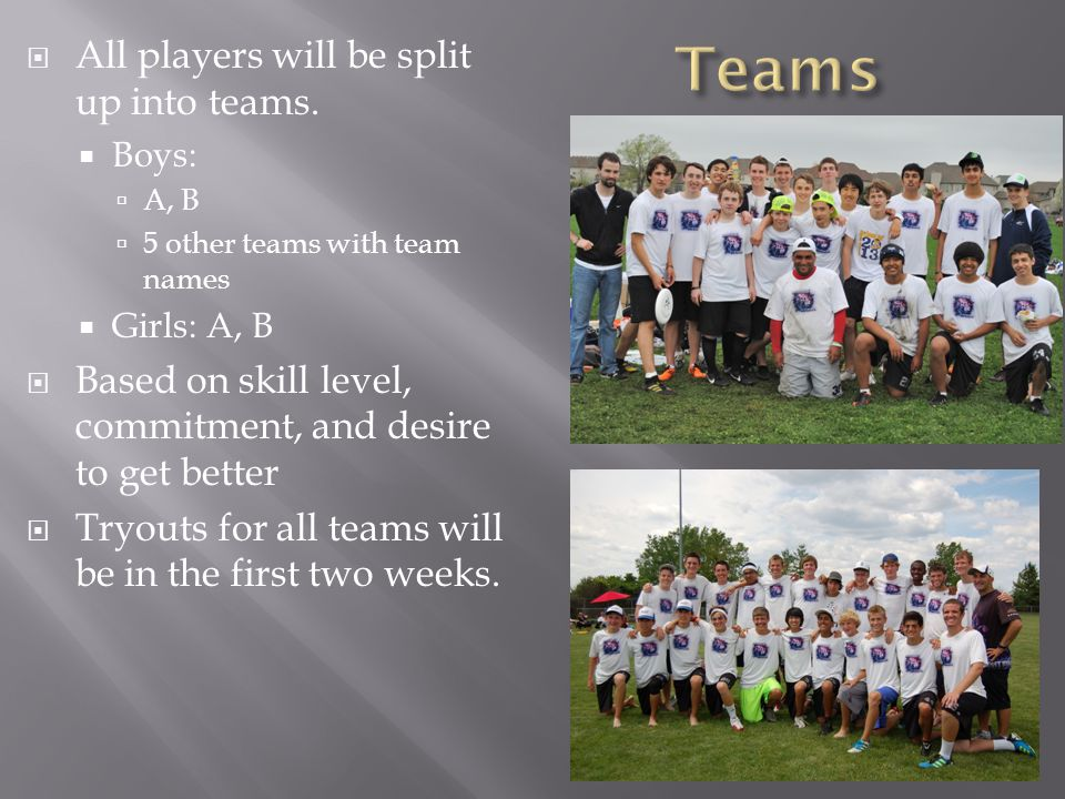 All players will be split up into teams.