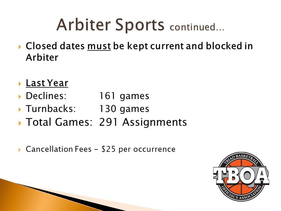 Closed dates must be kept current and blocked in Arbiter Last Year Declines:161 games Turnbacks: 130 games Total Games:291 Assignments Cancellation Fees - $25 per occurrence