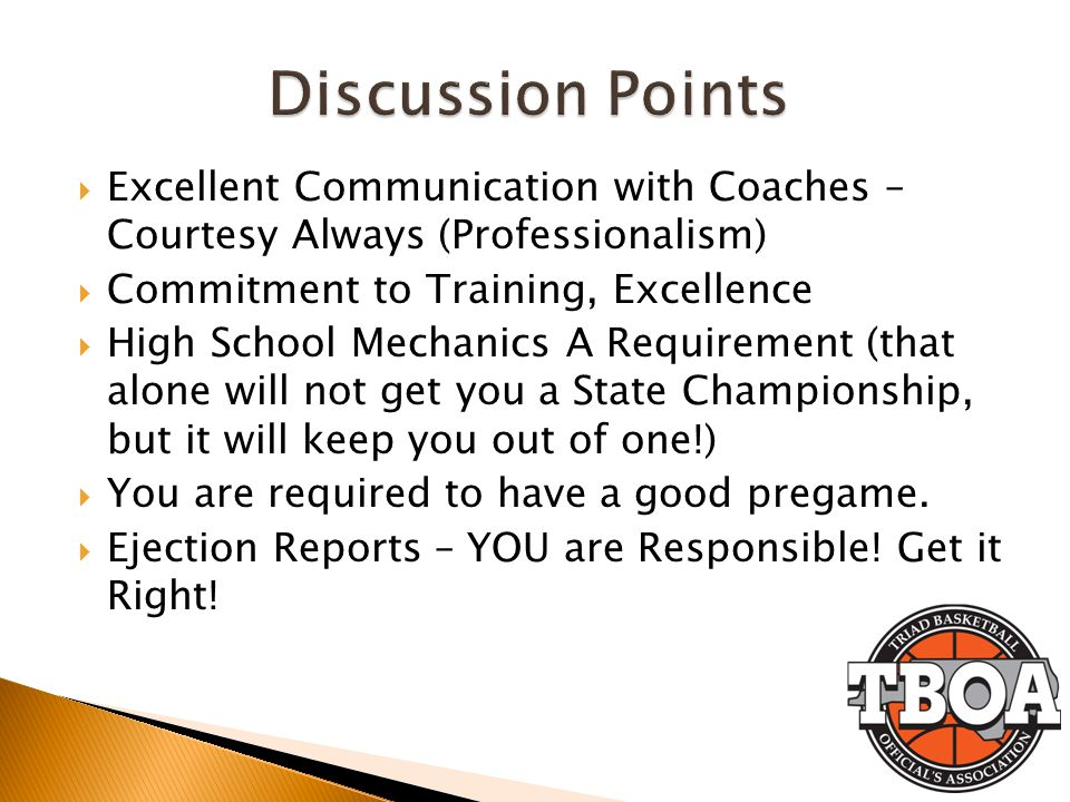 Excellent Communication with Coaches – Courtesy Always (Professionalism) Commitment to Training, Excellence High School Mechanics A Requirement (that alone will not get you a State Championship, but it will keep you out of one!) You are required to have a good pregame.