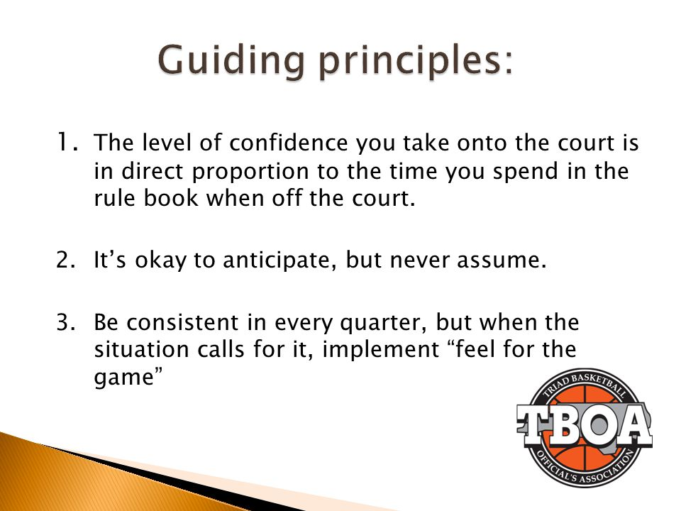 1. The level of confidence you take onto the court is in direct proportion to the time you spend in the rule book when off the court. 2.Its okay to an