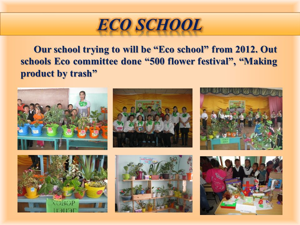 Our school trying to will be Eco school from 2012.
