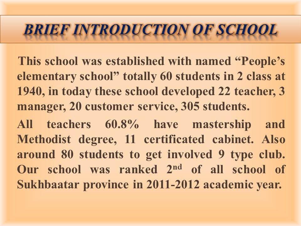 This school was established with named Peoples elementary school totally 60 students in 2 class at 1940, in today these school developed 22 teacher, 3 manager, 20 customer service, 305 students.