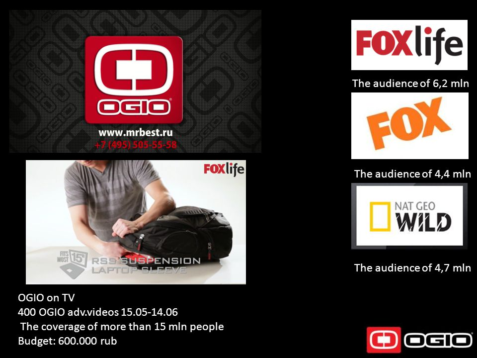 OGIO on TV 400 OGIO adv.videos 15.05-14.06 The coverage of more than 15 mln people Budget: 600.000 rub The audience of 6,2 mln The audience of 4,4 mln