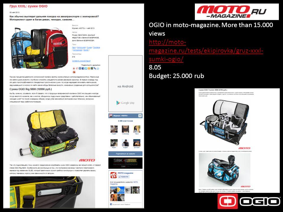 OGIO in moto-magazine. More than 15.000 views http://moto- magazine.ru/tests/ekipirovka/gruz-xxxl- sumki-ogio/ 8.05 Budget: 25.000 rub