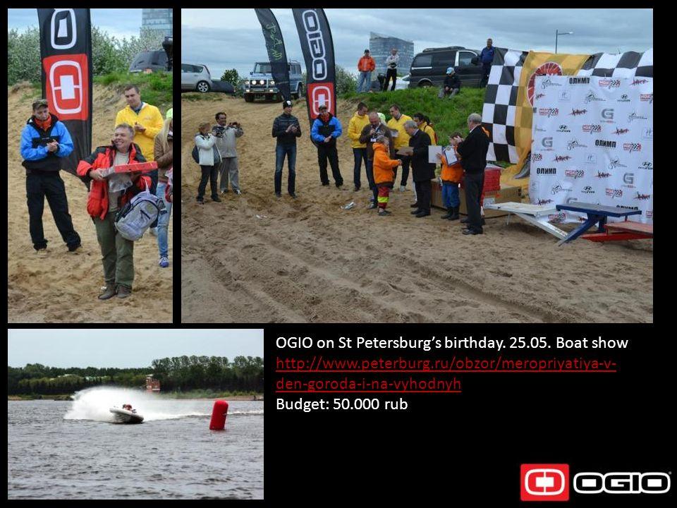 OGIO on St Petersburgs birthday. 25.05. Boat show http://www.peterburg.ru/obzor/meropriyatiya-v- den-goroda-i-na-vyhodnyh Budget: 50.000 rub