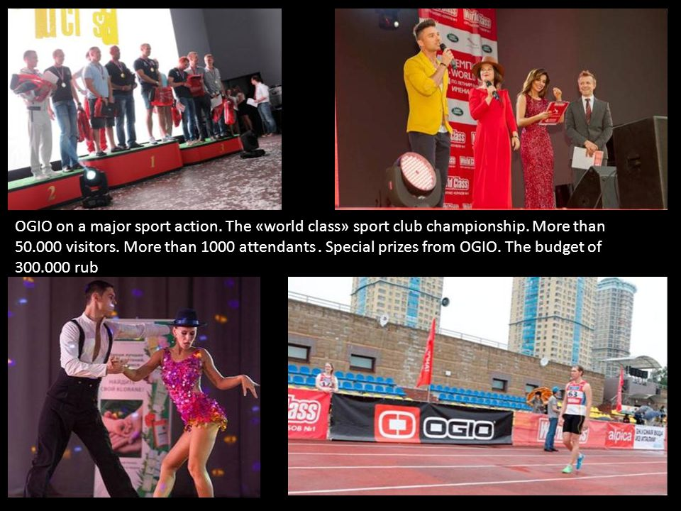 OGIO on a major sport action.The «world class» sport club championship.