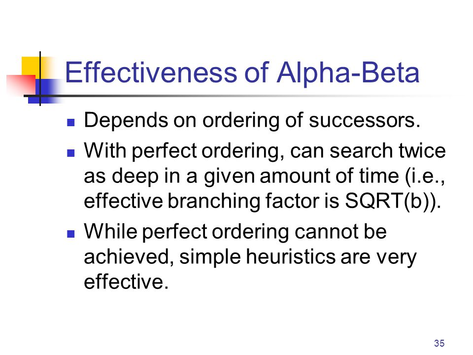 35 Effectiveness of Alpha-Beta Depends on ordering of successors. With perfect ordering, can search twice as deep in a given amount of time (i.e., eff