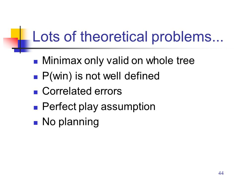 44 Lots of theoretical problems... Minimax only valid on whole tree P(win) is not well defined Correlated errors Perfect play assumption No planning