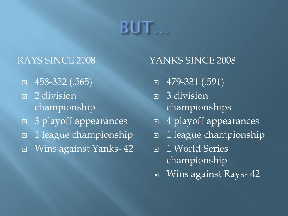 RAYS SINCE 2008YANKS SINCE 2008 458-352 (.565) 2 division championship 3 playoff appearances 1 league championship Wins against Yanks- 42 479-331 (.591) 3 division championships 4 playoff appearances 1 league championship 1 World Series championship Wins against Rays- 42