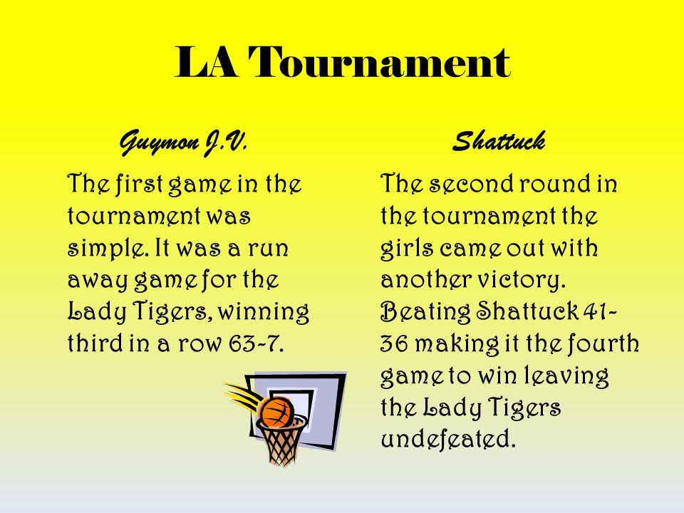 LA Tournament Guymon J.V. The first game in the tournament was simple. It was a run away game for the Lady Tigers, winning third in a row 63-7. Shattu