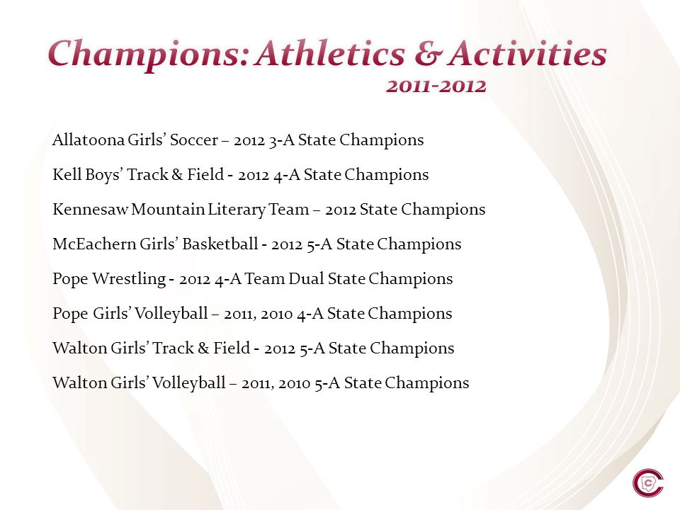 Allatoona Girls Soccer – 2012 3-A State Champions Kell Boys Track & Field - 2012 4-A State Champions Kennesaw Mountain Literary Team – 2012 State Champions McEachern Girls Basketball - 2012 5-A State Champions Pope Wrestling - 2012 4-A Team Dual State Champions Pope Girls Volleyball – 2011, 2010 4-A State Champions Walton Girls Track & Field - 2012 5-A State Champions Walton Girls Volleyball – 2011, 2010 5-A State Champions