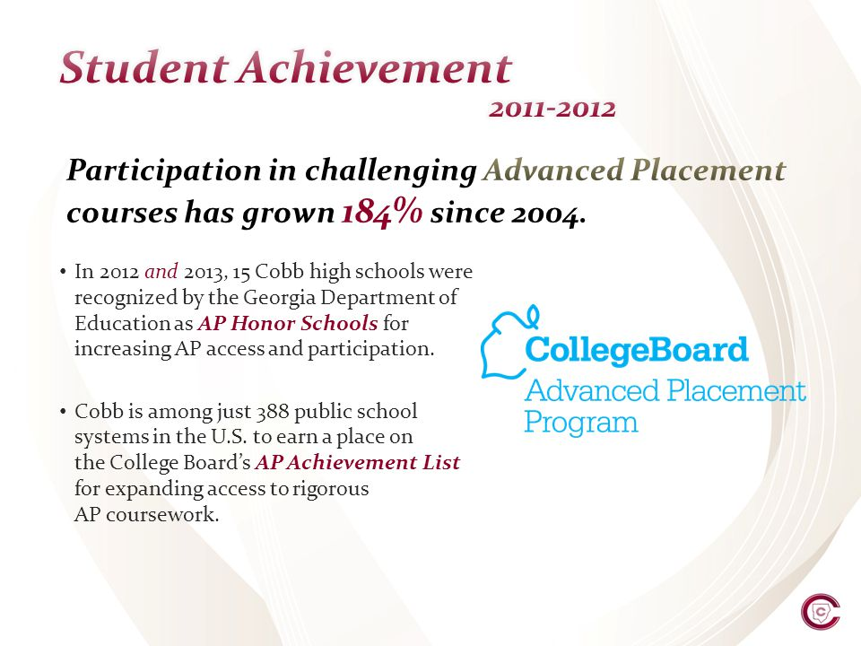 In 2012 and 2013, 15 Cobb high schools were recognized by the Georgia Department of Education as AP Honor Schools for increasing AP access and participation.