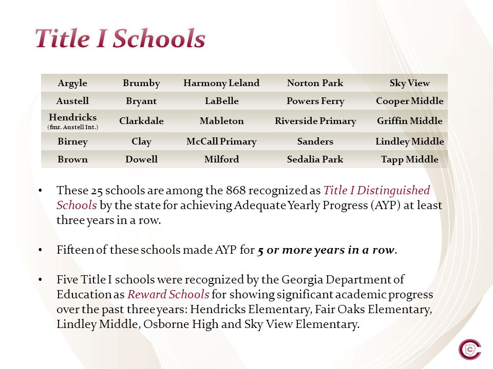 These 25 schools are among the 868 recognized as Title I Distinguished Schools by the state for achieving Adequate Yearly Progress (AYP) at least three years in a row.
