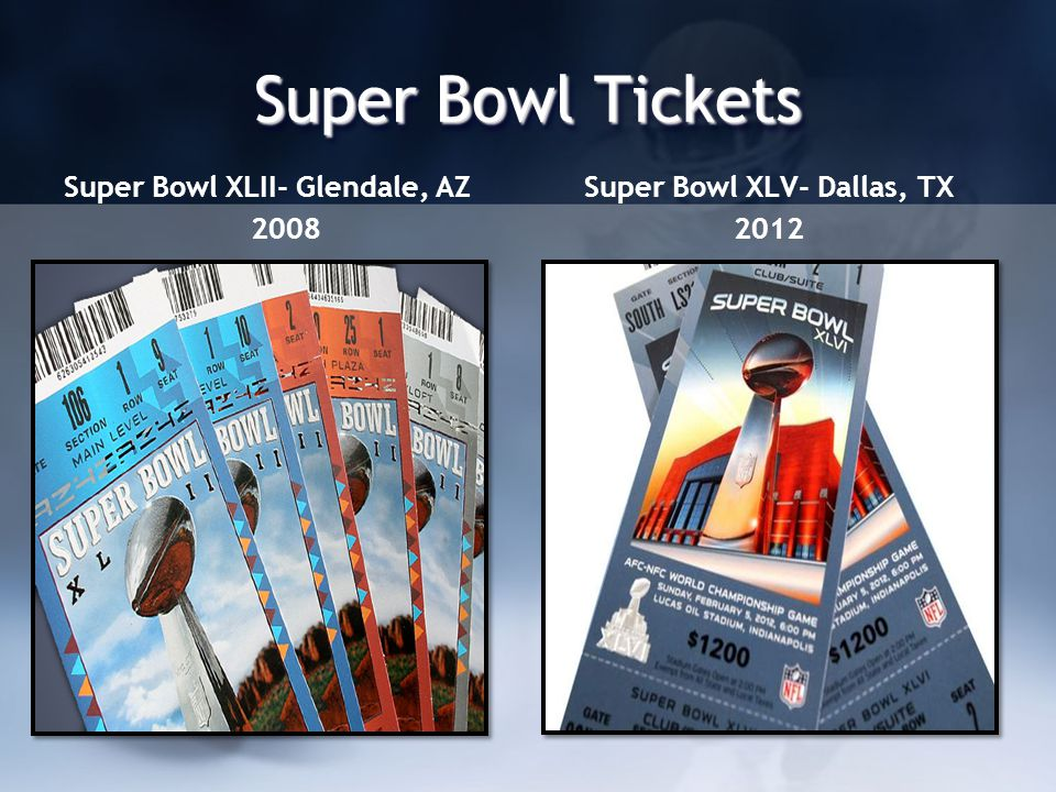 Super Bowl Tickets Super Bowl XLII- Glendale, AZ 2008 Super Bowl XLV- Dallas, TX 2012