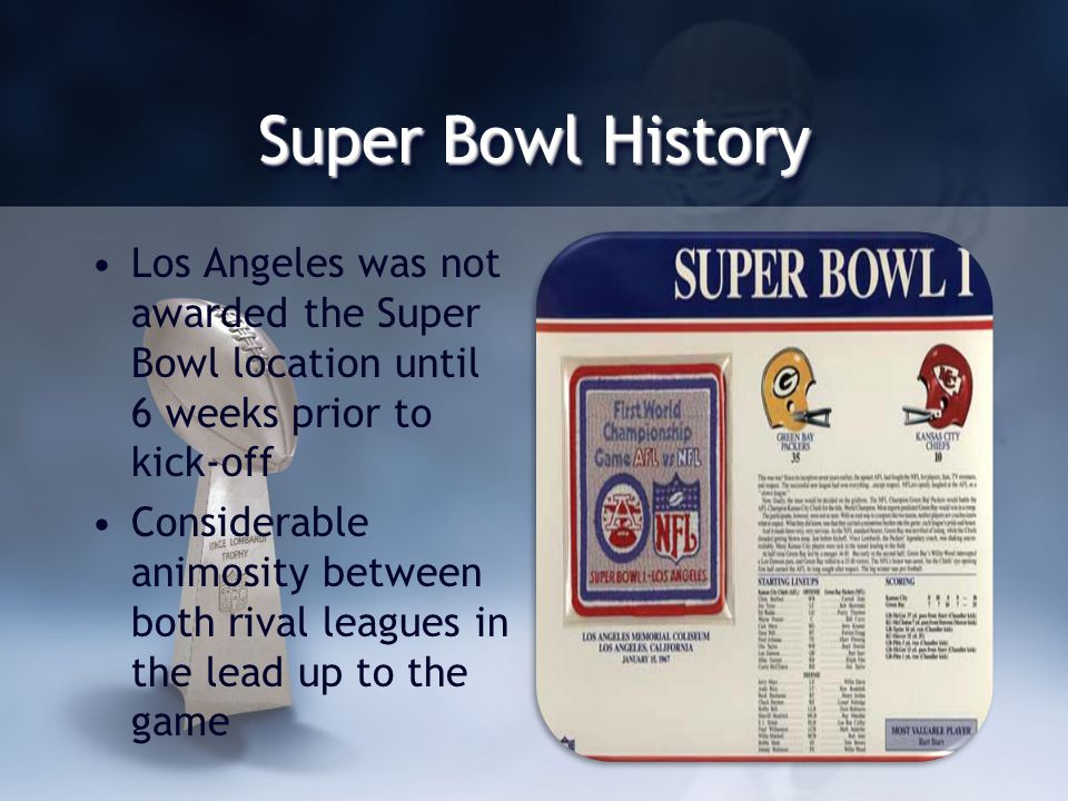 Super Bowl History Los Angeles was not awarded the Super Bowl location until 6 weeks prior to kick-off Considerable animosity between both rival leagues in the lead up to the game