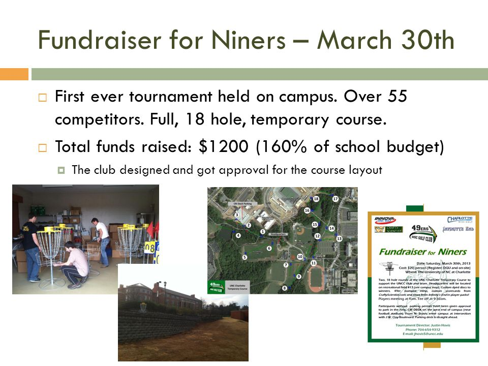 Fundraiser for Niners – March 30th First ever tournament held on campus.