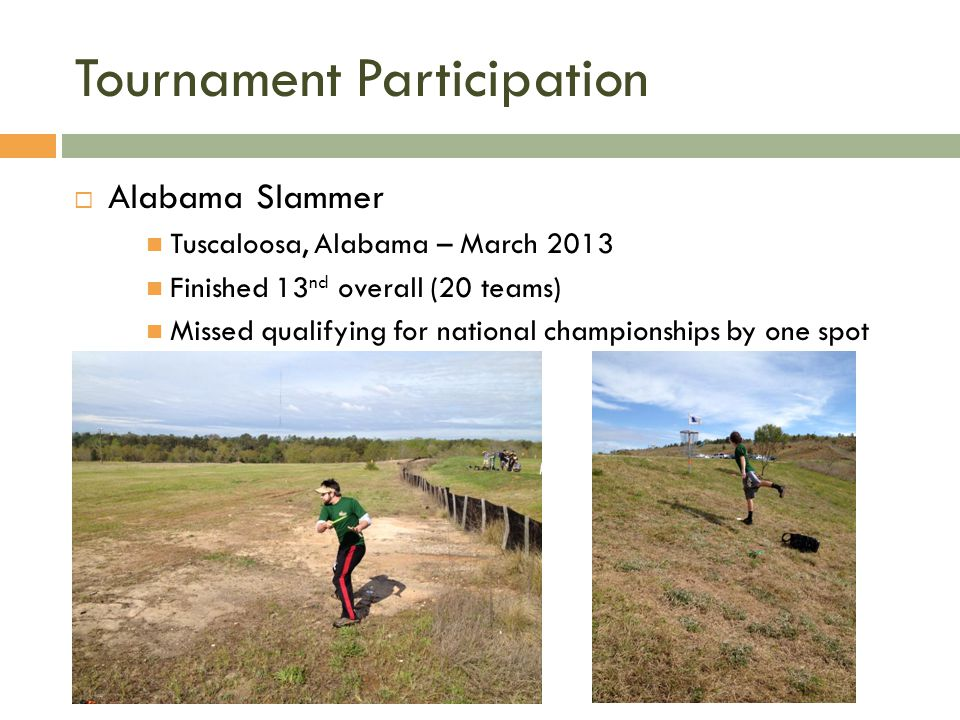 Tournament Participation Finished in the top 25 at the National Championships.