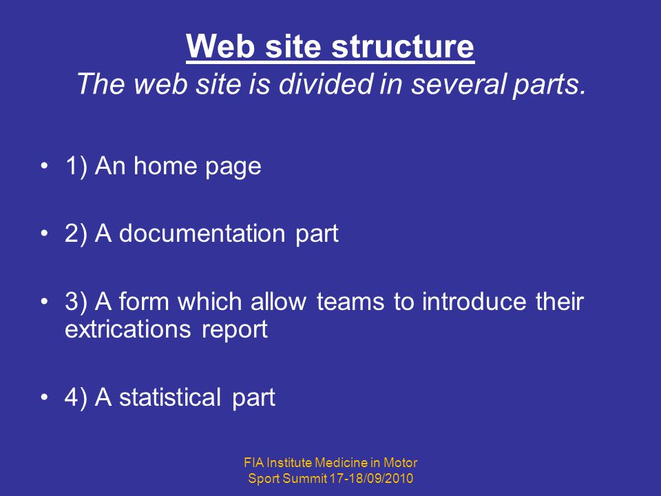 1) The home page Its the « showcase » of the web site.