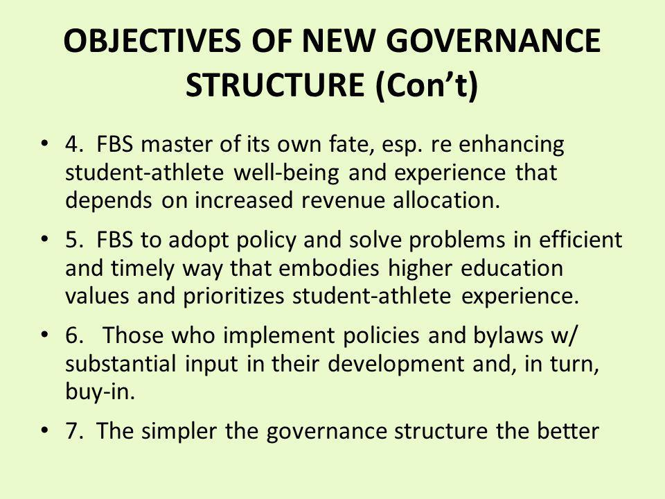 OBJECTIVES OF NEW GOVERNANCE STRUCTURE (Cont) 4. FBS master of its own fate, esp. re enhancing student-athlete well-being and experience that depends