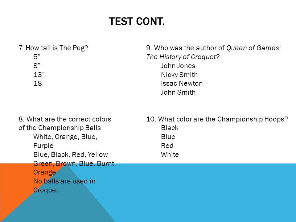 TEST CONT.Directions: True/False (2.5 points each).