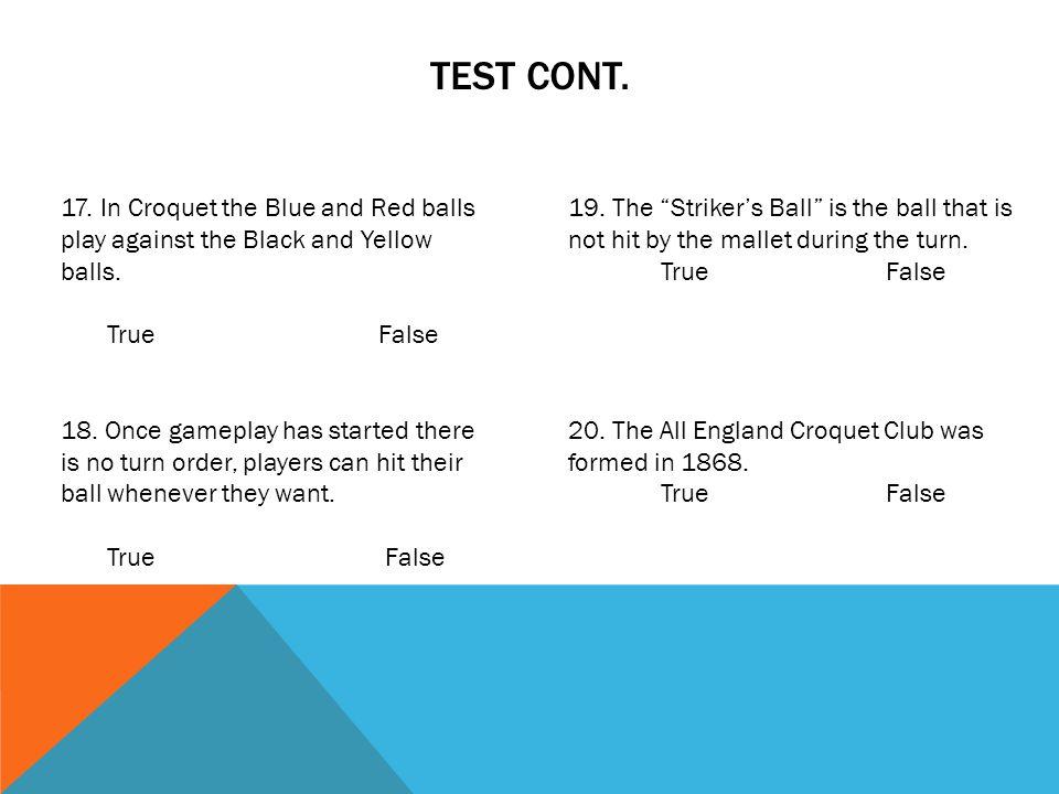 TEST CONT. 21. 23. Yds. 24. 25. Yds. 22.