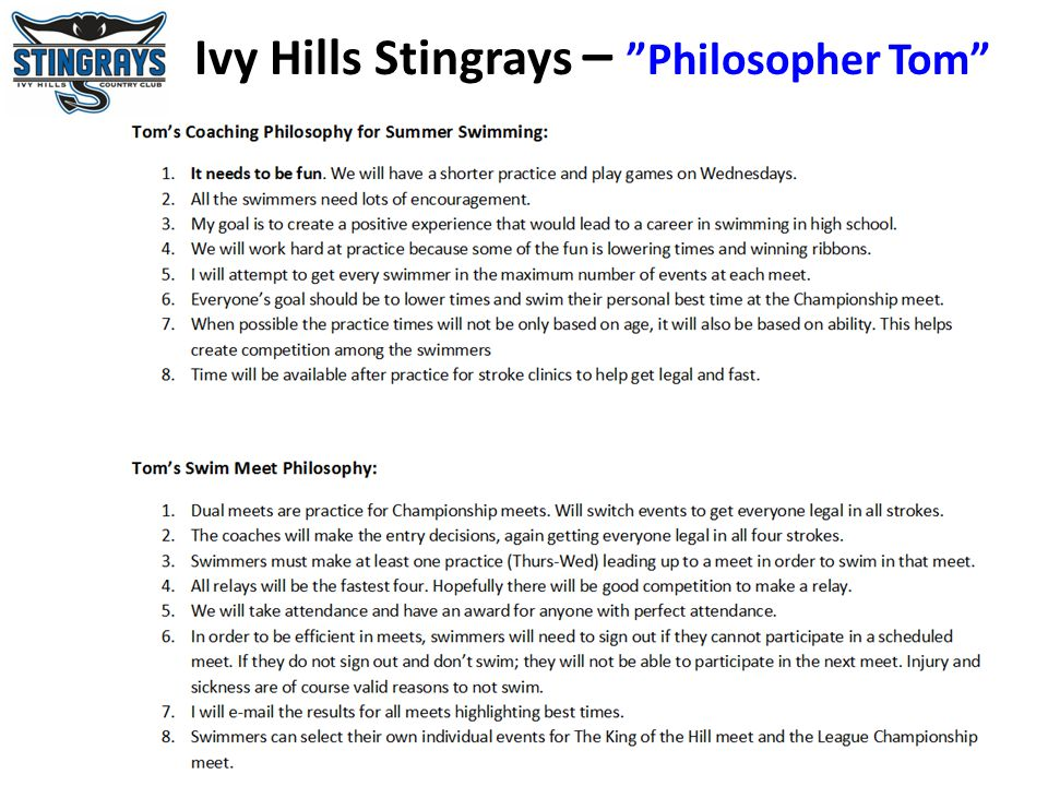 Ivy Hills Stingrays – Philosopher Tom