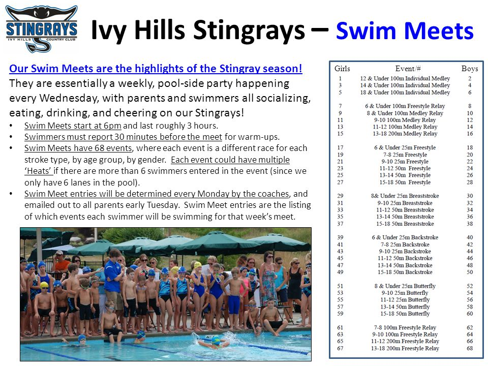 Ivy Hills Stingrays – Swim Meets Our Swim Meets are the highlights of the Stingray season! They are essentially a weekly, pool-side party happening ev