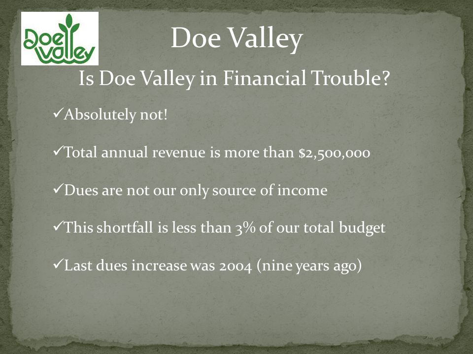 Doe Valley Is Doe Valley in Financial Trouble. Absolutely not.