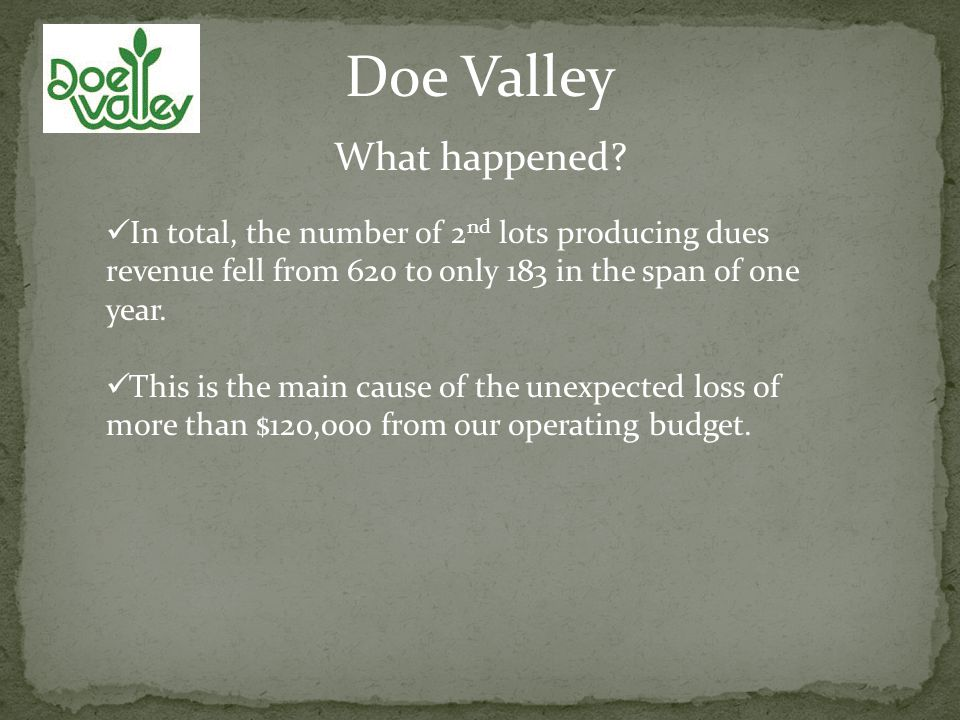 Doe Valley What happened.