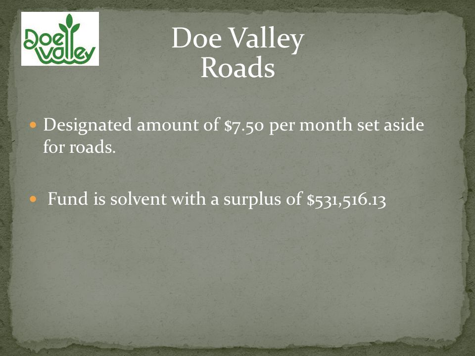 Roads Designated amount of $7.50 per month set aside for roads.
