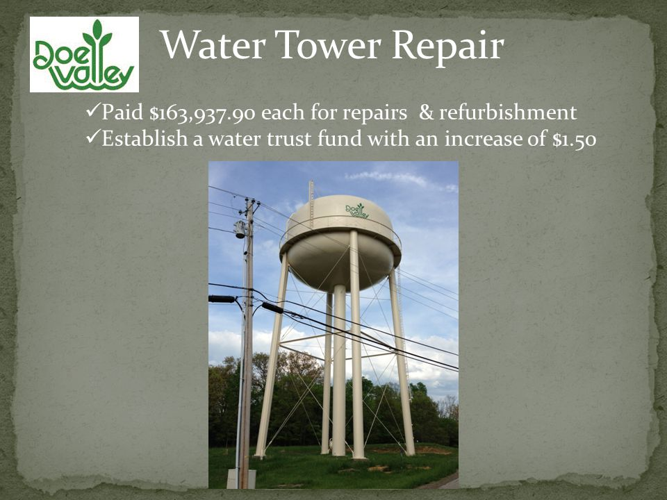 Water Tower Repair Paid $163,937.90 each for repairs & refurbishment Establish a water trust fund with an increase of $1.50