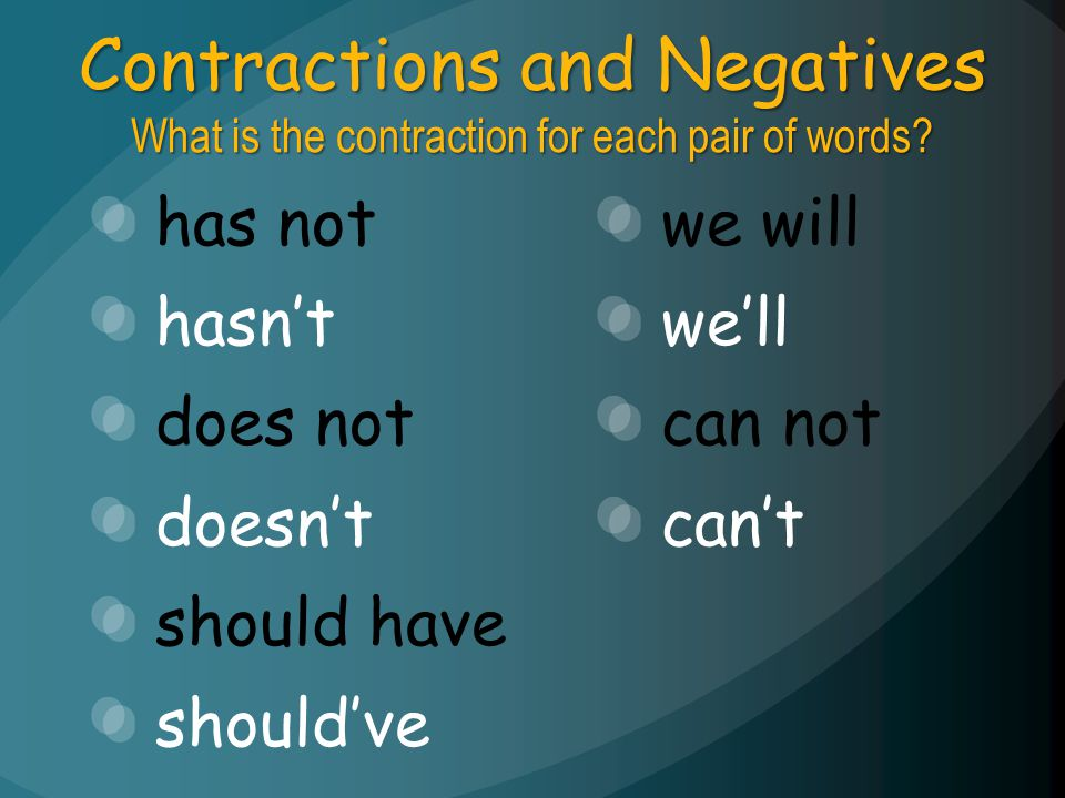 Contractions and Negatives What is the contraction for each pair of words? has not hasnt does not doesnt should have shouldve we will well can not can